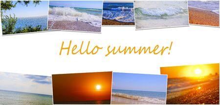 Hello summer collage banner.