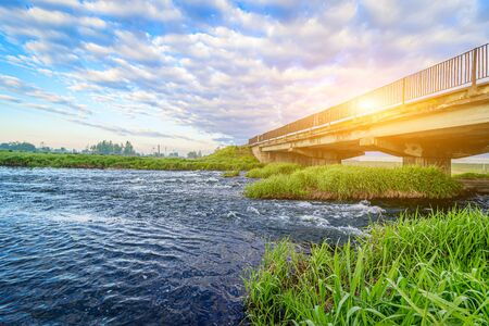 Summer Sunny dawn on the river . nature of Russia . Spaces. River. Photo for the picture. Summer landscape. For printed products. Magazine cover. wall murals. Beautiful summer landscape Archivio Fotografico
