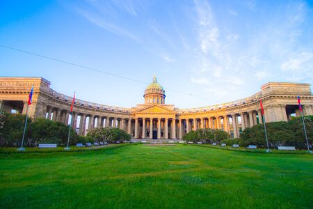 Kazan Cathedral in Saint Petersburg . Sights of Saint Petersburg. Morning city without people. Orthodoxy. Article about tourism