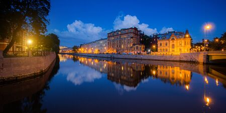 Moika river in Saint Petersburg at night . Panorama of night Saint Petersburg. City attraction. The article is about tourism. Journey