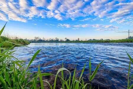Summer Sunny dawn on the river . nature of Russia . Spaces. River. Photo for the picture. Summer landscape. For printed products. Magazine cover. wall murals. Beautiful summer landscape 版權商用圖片