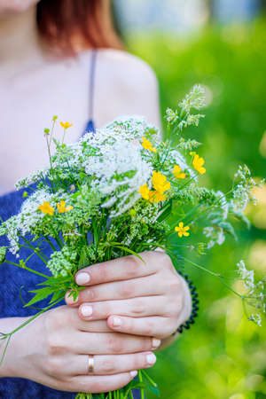 A bouquet of wild flowers in women's hands . Bouquet of wildflowers. Soft female hands. Article about collecting flowers. Yellow and white live flowers. Bouquet