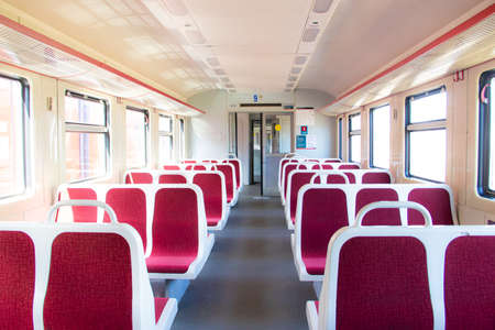 Seats in the train . Seats on public transport. Passenger transportation. Clean treated seats in public transport