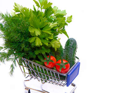 Cart with vegetables and herb