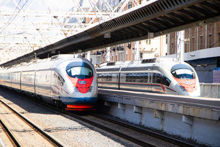 Peregrines at the station. Passenger transport. Speed train. Article about the peregrine Falcon schedule. Saint Petersburg - Moscow. Russia, Saint Petersburg 30 July 2020