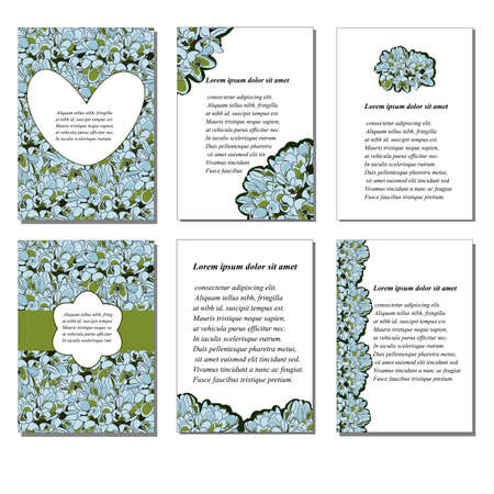 planners: 6 Set of creative journaling cards. Posters set. Vector illustration. Template for Greeting Scrapbooking, Congratulations, Invitations, Stickers, Planners. Valentines Day Illustration