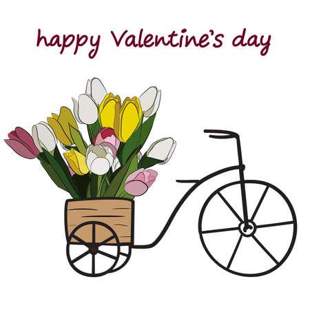 Carretilla, cesta llena de tulipanes. Tarjeta del día de San Valentín.