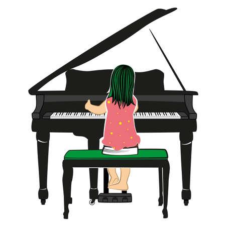 prodigy: Child playing the piano Illustration