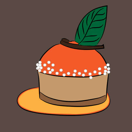 dulcet: Delicious cream cake icon on brown background. Vector illustration. Abstract template holiday design. Flat cute cartoon sign.