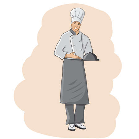 Chef in restaurant. Cute Cook in uniform holding dish isolated on white.