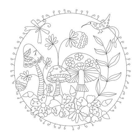coloring wild mushrooms . vector illustration of a inscribed in a circle. Ilustração