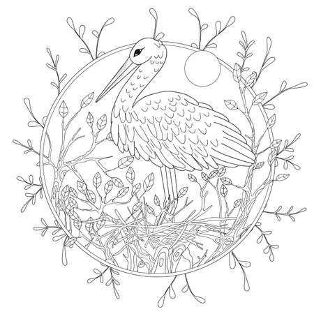 Stylized pelican bird among foliage. Freehand sketch for adult anti stress coloring book page