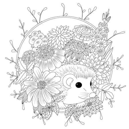 벡터 일러스트 레이 션 꽃과 고슴도치입니다. 색칠하기 책 성인을위한 반대로 긴장. 검정색과 흰색.