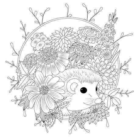 Vector illustration hedgehog with flowers. Coloring book anti stress for adults. Black and white. Illustration