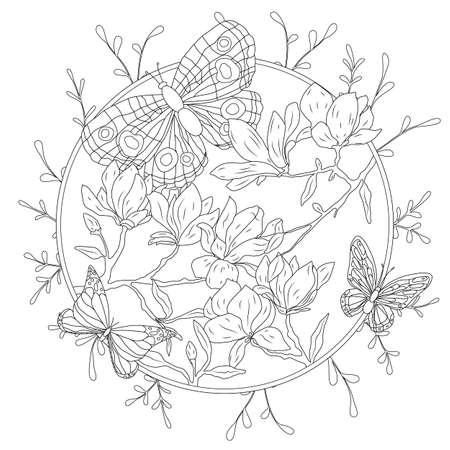 Coloring book for adult and older children. Coloring page with decorative vintage flowers and decorative butterflies. Outline hand drawn. Ilustracja