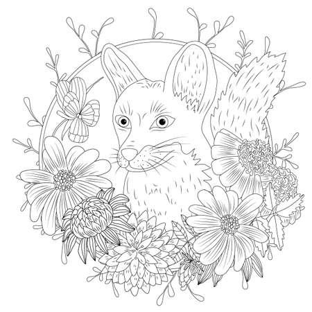 stylisé animal sauvage de bande dessinée animale et des feuilles à la main . croquis à main levée pour le livre de coloriage adulte coloriage coloriage