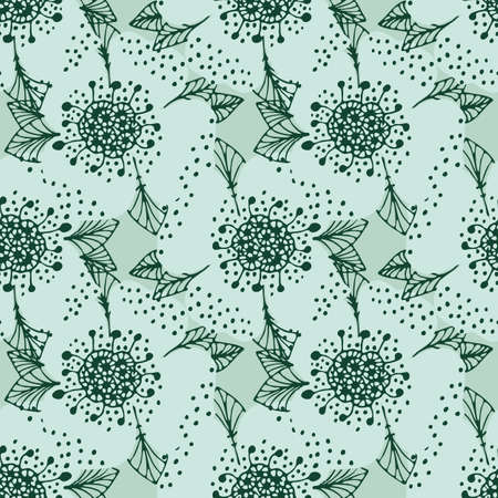 Floral pattern in doodle style with flowers and leaves. Illustration