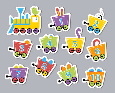 developmental: Bright colorful numbers on train carriages. Developmental stickers for children. illustration of caravans with beasts Illustration