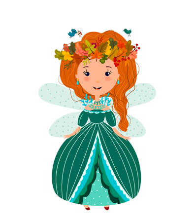 Cute beautiful Princess fairy in a wreath of leaves. The red-haired girl in a flat style.