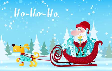 Cute cartoon Santa Claus sitting in sleigh with dog Merry Christmas vector illustration horizontal banner