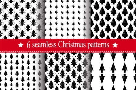 Abstract art vector background. Christmas tree seamless pattern in modern geometry style.