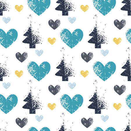 abstract art vector background. Christmas tree seamless pattern in modern geometry style. Illustration