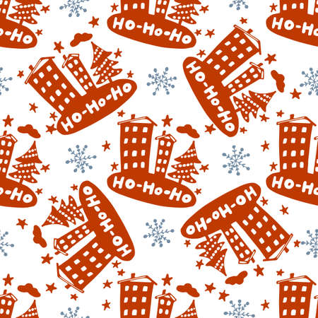 Seamless Christmas patterns. Vector design for the winter holidays. Illustration