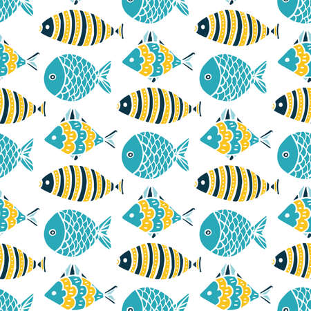 Colorful fish cartoon seamless vector pattern.