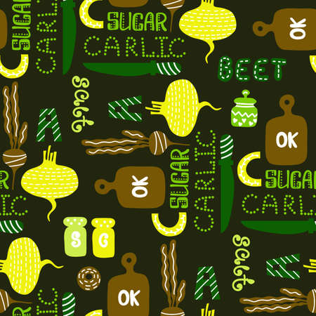 seamless pattern with vector vegetables