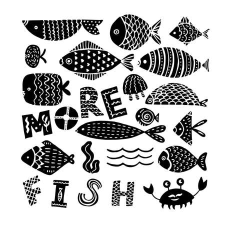 silhouettes of fishes on a white background. Creative Hand Drawn texture, marine theme design. Çizim