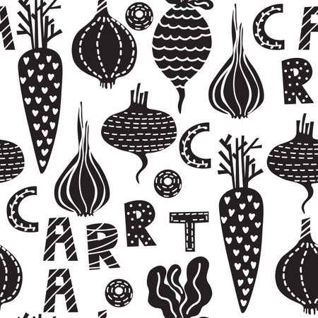 A seamless pattern with vector vegetables. A bright kitchen illustration modern textured flat style