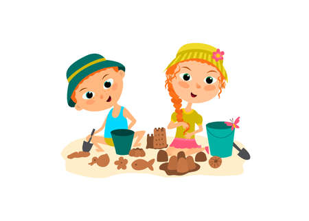 The children are playing in sandcastle on the beach. Brother and sister building a sand castle.
