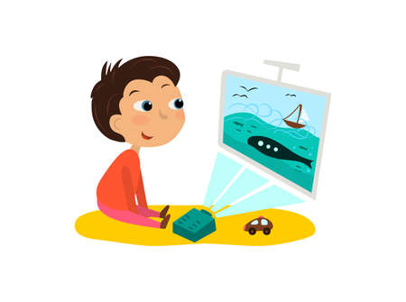 The child watches cartoons, TV Vector Illustration