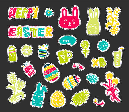 Colored vector Easter stickers, stickers. The attributes of the feast of Easter: eggs, flowers, rabbits, treats, sweets Illustration