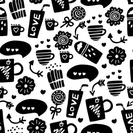 Vector seamless pattern with food and drink Ilustrace