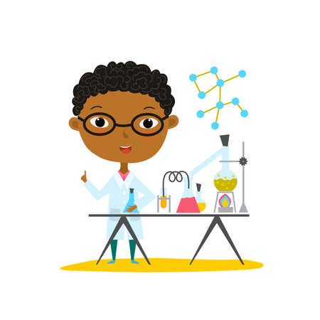 Youngest scientist. Baby kid doing chemistry experiments. Holding flask and test tube in hands. Flat style vector cartoon illustration. Illustration