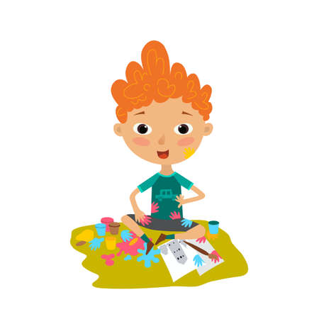 Illustration of a boy painting on a white background. Boy dirty paint. Colorful illustration in flat style Vectores