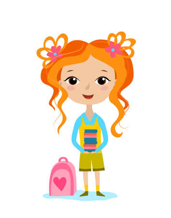 Vector illustration of a cute girl carrying a book. Schoolgirl in uniform carries a stack of books Ilustração