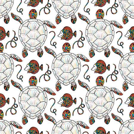 Modèle vectorielle continue de tortues de mer et de poissons tropicaux