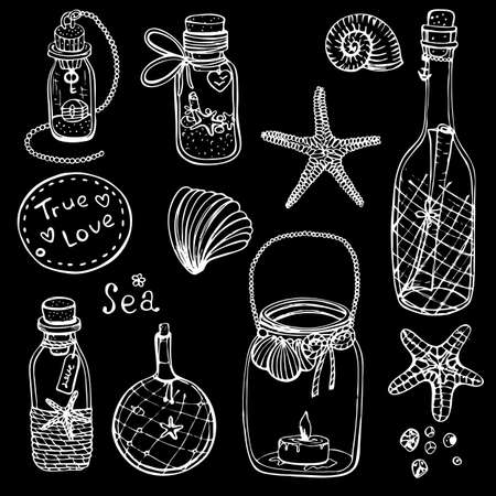 Hand-drawn vector illustrations-a collection of shells, stars. Marine set. Seamless pattern