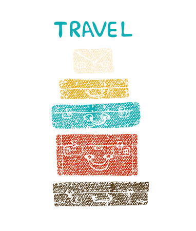 Travel Suitcases Vector.Textured illustration of a suitcase.
