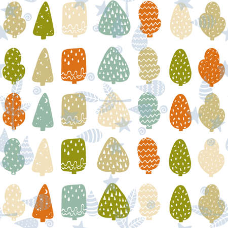 Cute forest seamless pattern. Vector ornament in soothing colors