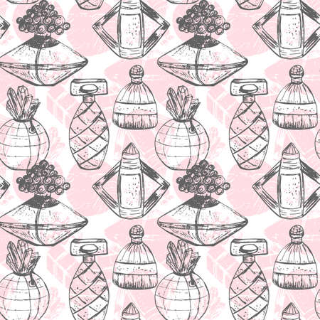 Vector seamless perfume pattern.Elegant and feminine pattern.