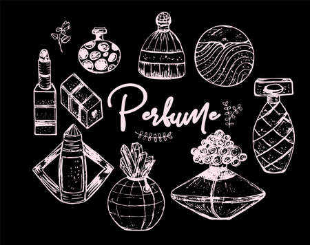 Vector illustration sketch set of perfume bottles.