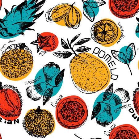 Fresh fruit tropical seamless pattern illustration