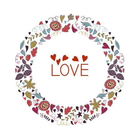 Valentines Day Greeting Card with wreath. Love lettering. Perfect for valentines day, stickers, birthday, save the date invitation. 向量圖像