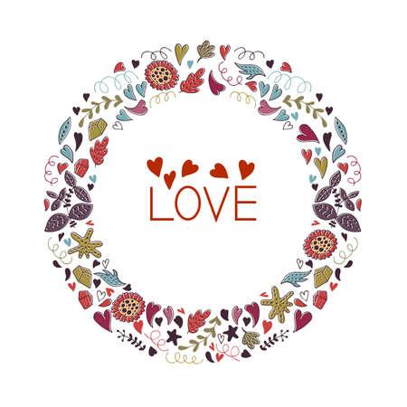 Valentinstag-Grußkarte mit Kranz. Liebes-Schriftzug. Perfekt für Valentinstag, Aufkleber, Geburtstag, Save the Date Einladung. Vektorgrafik