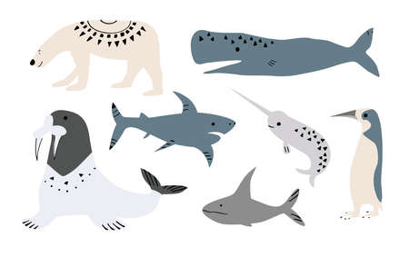 Illustration von Walen, Fischen wie Narwal, Blauwal, Pinguin, Beluga, Buckelwal, Wal und Hai, Walross, Navy Seal. Isoliert auf weiß