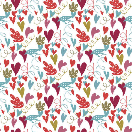 Heart Doodles.Vector seamless pattern with heart, leaves and spirals