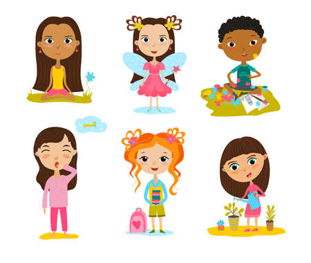 Happy kids cartoon collection. Multicultural children in different positions isolated on white background.